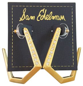 Sam Edelman NWT Sam Edelman Sand Dunes Gold & Pave Pentagon Hoop Earrings