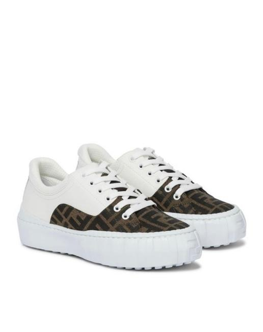 Item - White Force Women's Logo Motif Ff Canvas Leather Brown Sneakers Size EU 38.5 (Approx. US 8.5) Regular (M, B)