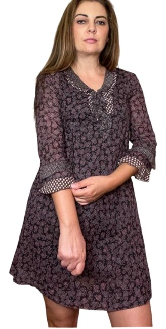 Item - Black with Wine/ Purple Floral Mini Tunic Short Casual Dress Size 6 (S)