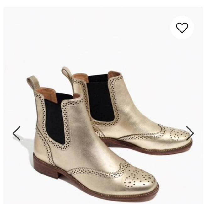 Item - Gold Ivan Brogue Chelsea Pull-on Leather Metallic Boots/Booties Size US 7.5 Regular (M, B)