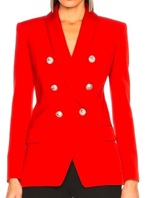 Item - Red Double-breasted Wool Blazer Size 10 (M)