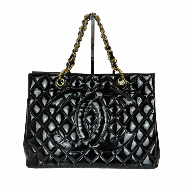 Item - Shopping Gst Grand Vintage Quilted Black Patent Leather Tote