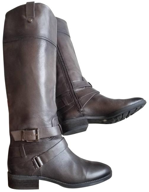 Item - Brown Charcoal Buckle Leather Tall Riding Boots/Booties Size US 7 Regular (M, B)