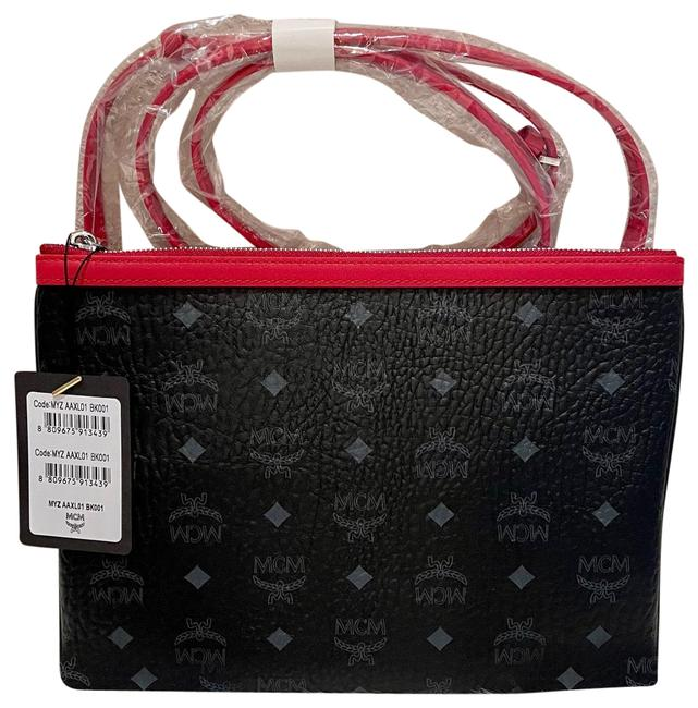 Item - New - Visetos Skyoptic Pouch Black and Red Coated Canvas Cross Body Bag