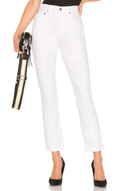Item - White Light Wash Re/Done Double Needle Crop Straight Leg Jeans Size 2 (XS, 26)