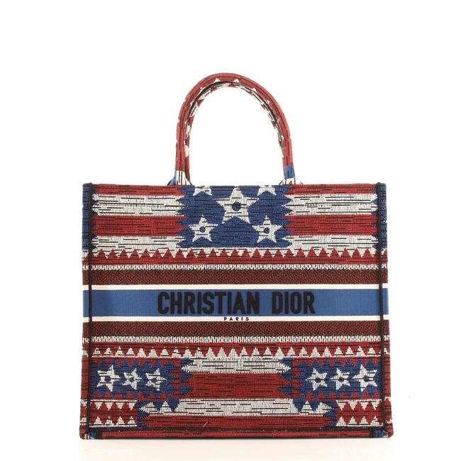 Item - Book American Flag Embroidered Multicolor Canvas Tote