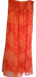 Orange Multi Maxi Dress by Old Navy Summer Maxi Strapless Chiffon Flowy