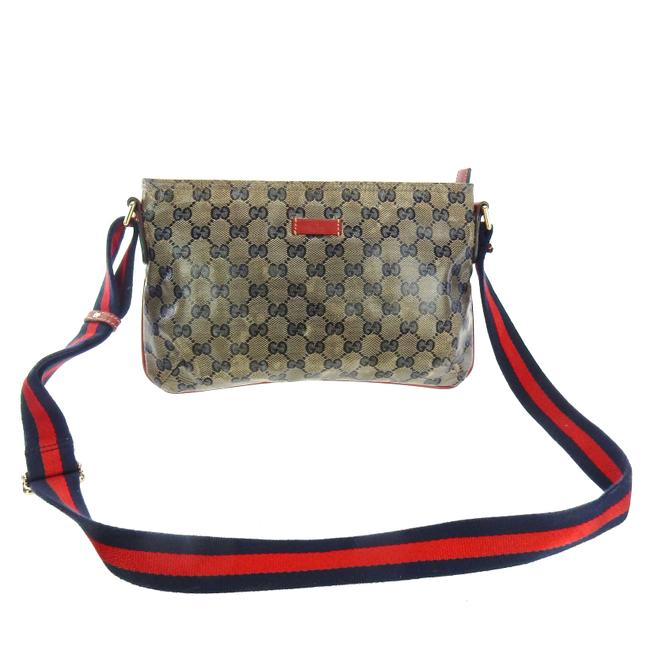 Item - Messenger Flat Red and Blue Web Gg Monogram Crystal Canvas Leather Cross Body Bag