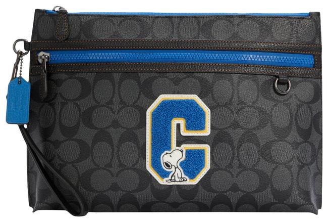 Item - Carryall Peanuts Pouch In Signature Canvas with Snoopy Qb/Charcoal Multi Leather Wristlet