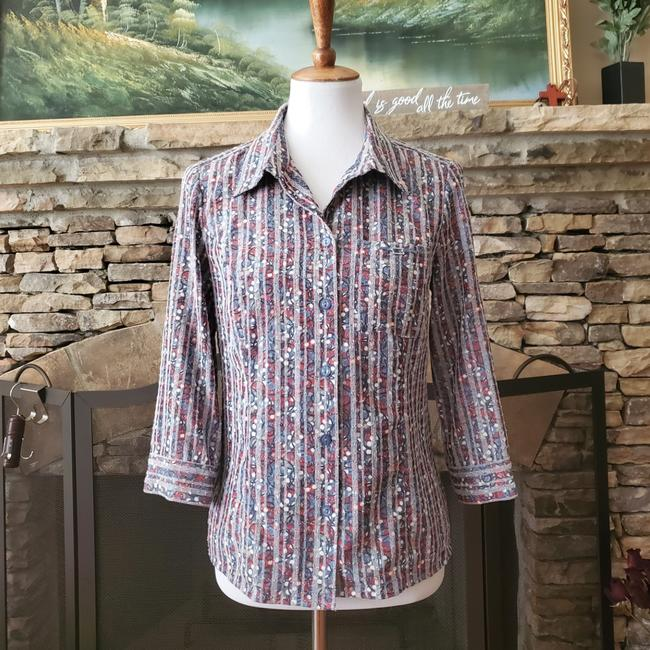 Item - Multicolor 3/4 Sleeve Button Front Shirt Button-down Top Size 4 (S)