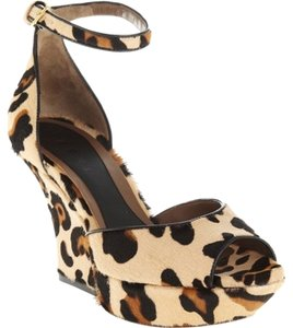 Marni Leopard calf hair tan with black and brown Platforms