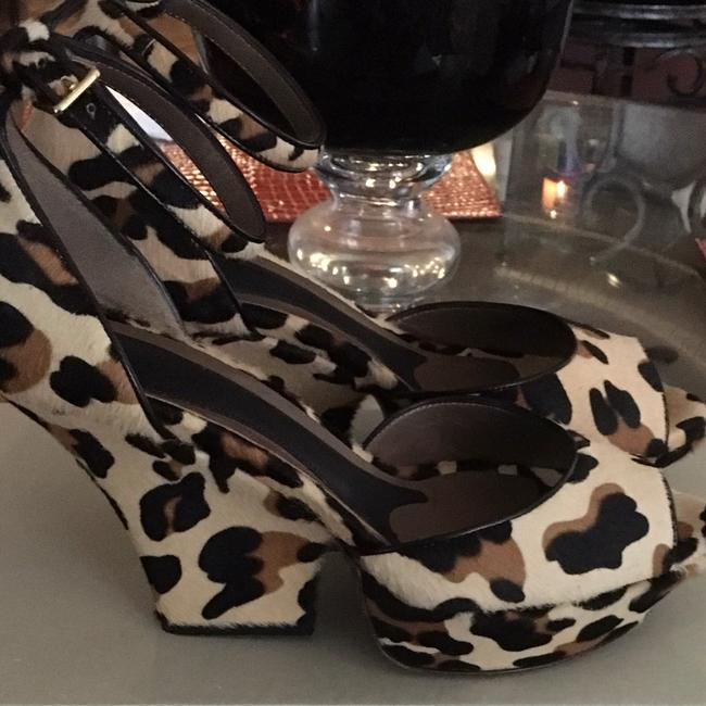 Marni Leopard Calf Hair Tan with Black and Brown Sand Storm Mary Jane Platforms Size US 9 Regular (M, B) Marni Leopard Calf Hair Tan with Black and Brown Sand Storm Mary Jane Platforms Size US 9 Regular (M, B) Image 3