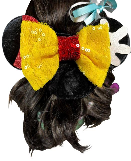 Item - Black Mickey Mouse Ears with Sequins Yellow Bow Scrunchies Hair Accessory