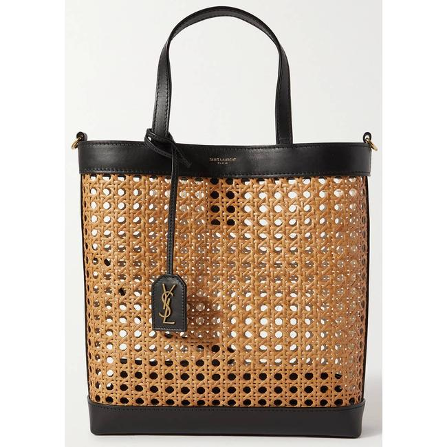 Item - Shopping Toy Leather-trimmed Straw Black/Tan Tote