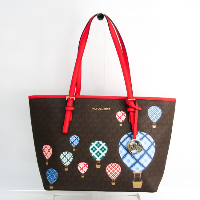 Item - Bag 35t0guut2b Women's Beige / Dark Brown / Multi-color / Red Color Leather / Coated Canvas Tote