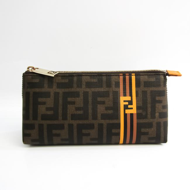 Item - Zucca 7n0074 Women's Pouch Black / Brown / Khaki / Yellow Coated Canvas / Leather Clutch