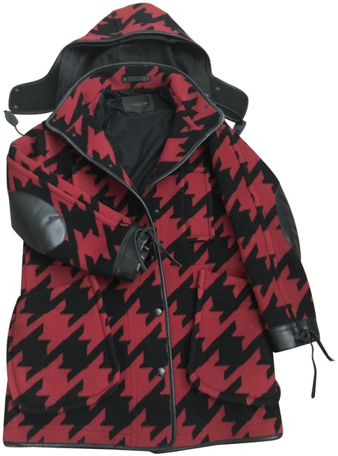 Item - Black Red Houndstooth Winter Coat Size 0 (XS)