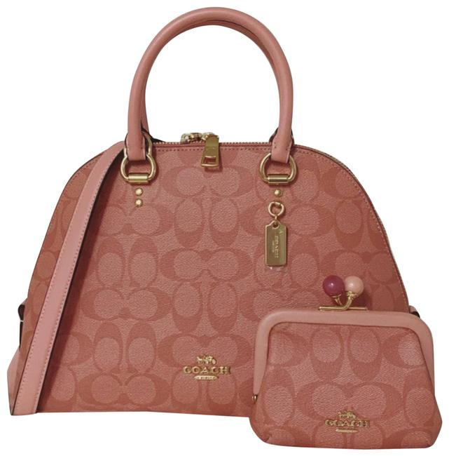 Item - In Signature and Card Case Pink Coated-canvas Satchel