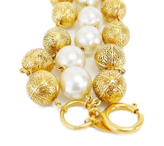 Chanel Chanel Faux Pearl X Golden Ball Triple Chain Bracelet
