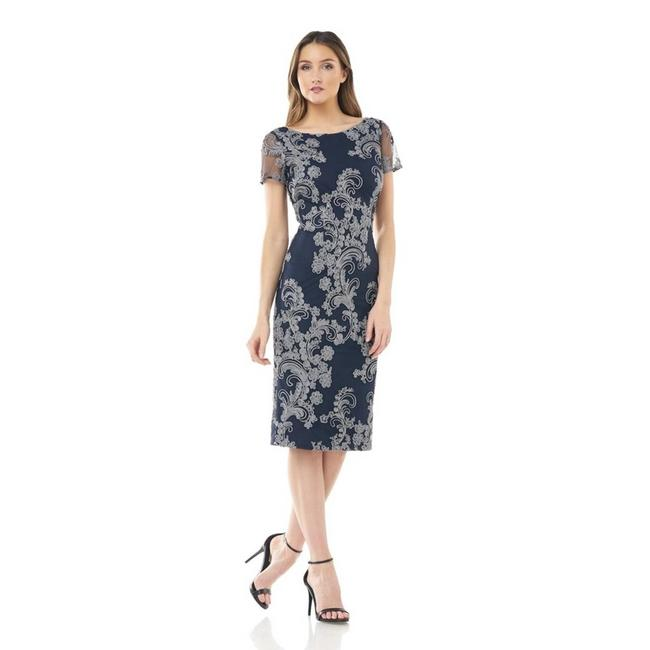 Item - Blue Embroidered Soutache Silver Navy Midi Mid-length Cocktail Dress Size 2 (XS)