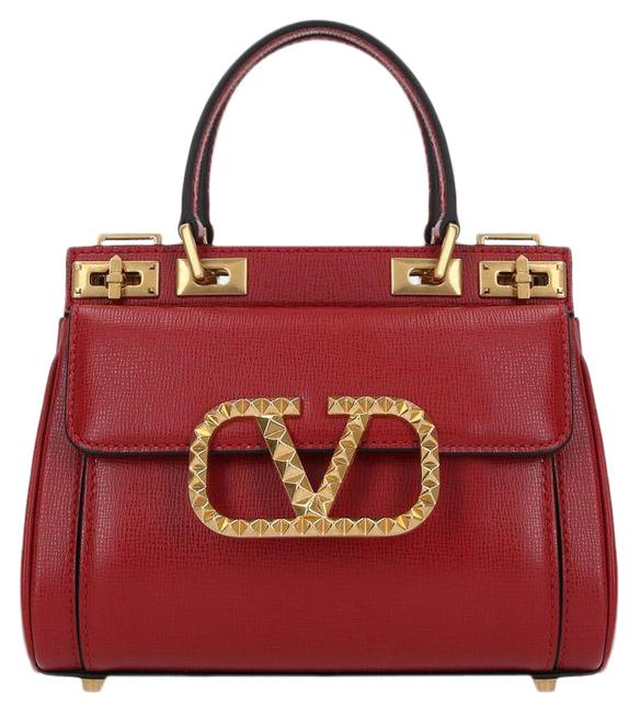 Item - Small Rockstud Alcove In Grained Red Leather Satchel