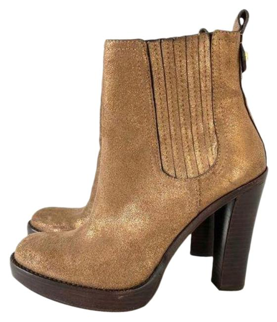 Item - Brown Gold Metallic Leather Pull-on Boots/Booties Size US 8 Regular (M, B)