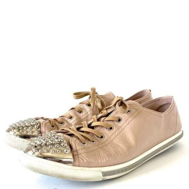Item - Cream Silver W Patent Leather W/ Studded Toe Tip Sneakers Size EU 41 (Approx. US 11) Regular (M, B)