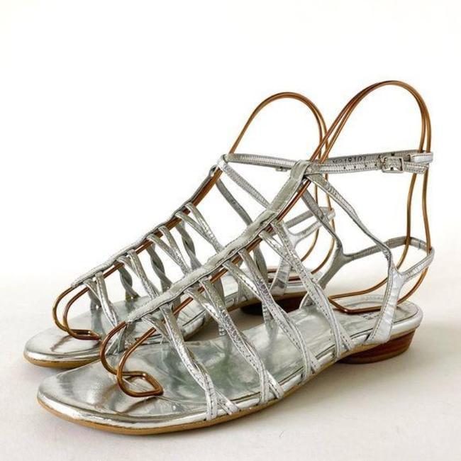 Item - Silver Leather Strappy Sandals Size US 6.5 Regular (M, B)