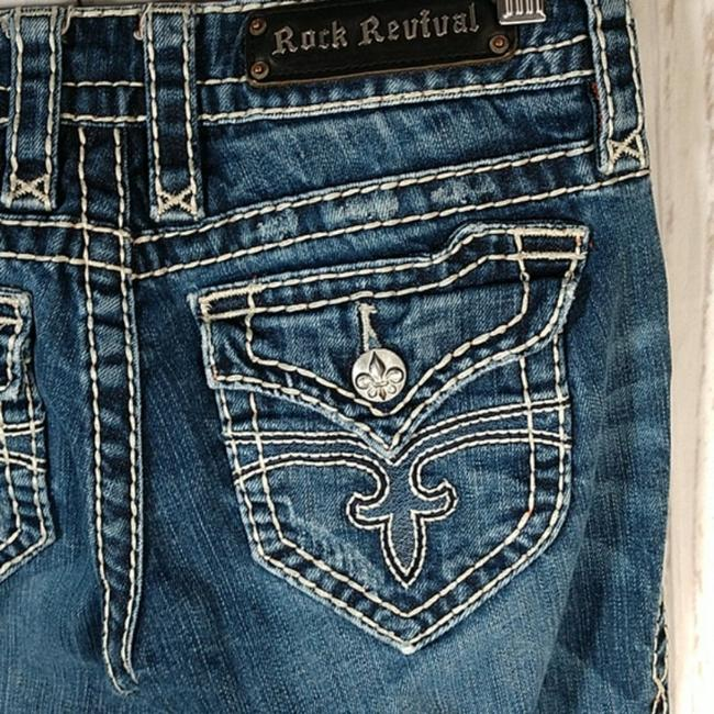 Item - Blue Distressed Eva Relaxed Boot Cut Jeans Size 27 (4, S)
