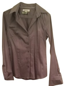Banana Republic No Iron Cotton Blouse Button Down Shirt Gray