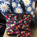 Lulu Guinness Tote in blue and pink with yellow