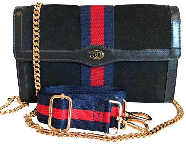 Item - Clutch Navy Blue Suede Leather Cross Body Bag