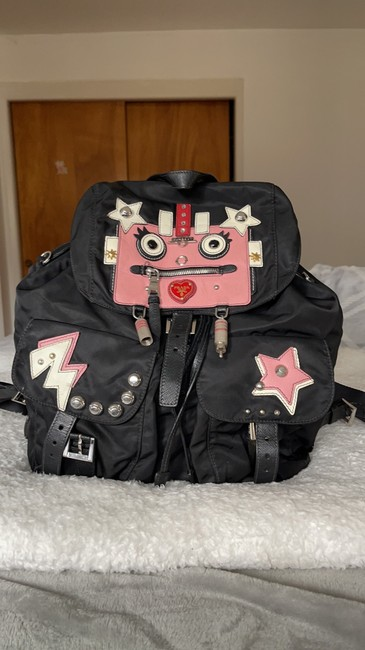 Item - Limited Edition Tessuto Robot Black Pink and White Nylon Backpack