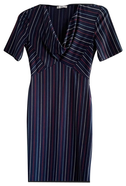 Item - Blue Red White Multicolored Midi Mid-length Work/Office Dress Size 8 (M)