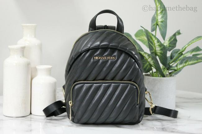 Item - Erin Small Convertible Black & Gold Vegan Leather Backpack