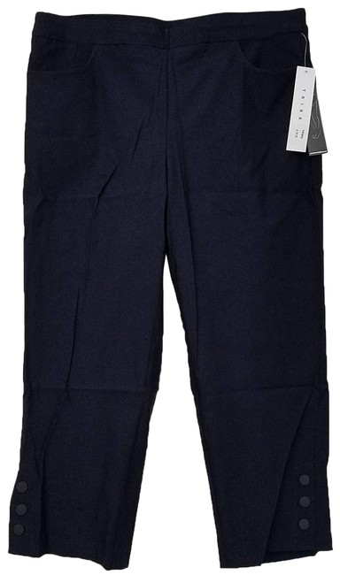 Item - Blue Bengaline Stretch Pull-on Button Detail Ink Pants Size 12 (L, 32, 33)