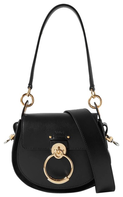Item - Shoulder Tess Small Leather and Suede Black Cross Body Bag