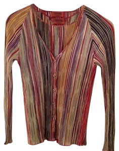 Missoni Twinset Striped Red Beige Cardigan