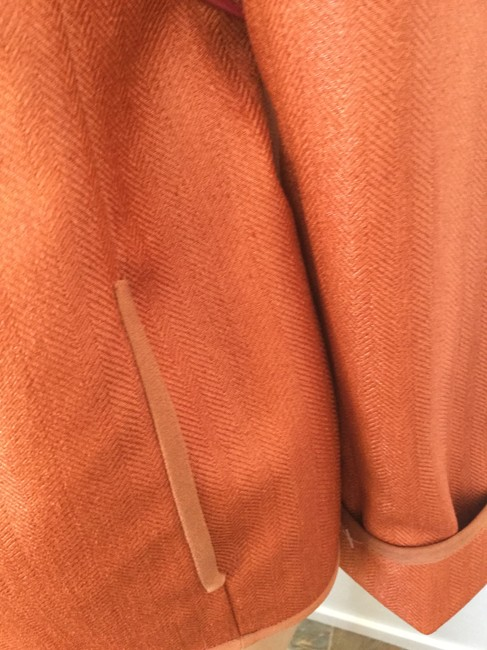 Jones New York Versatile Day/Evening Office Night Out Date Night Travel Herringbone Pants Dress Shorts Blouse Fall Winter Summer Orange Jacket
