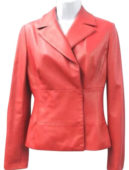 Item - Red Leather Jacket Size 4 (S)