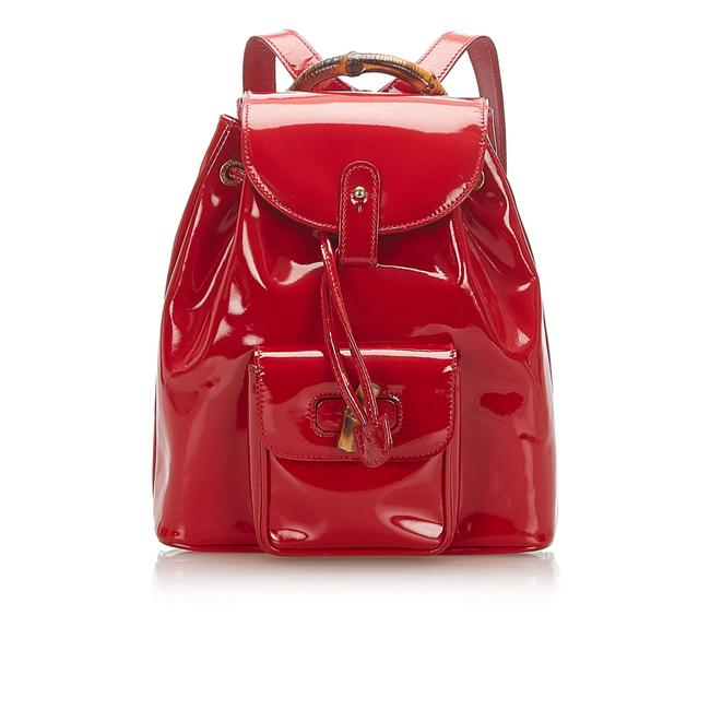 Item - Drawstring Bamboo Red Patent Leather Backpack