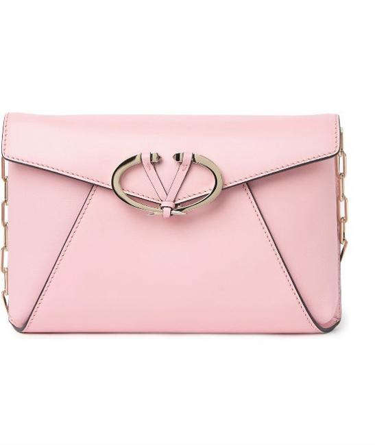 Item - Clutch W W/ Removal Gold Chain Pink Leather Cross Body Bag