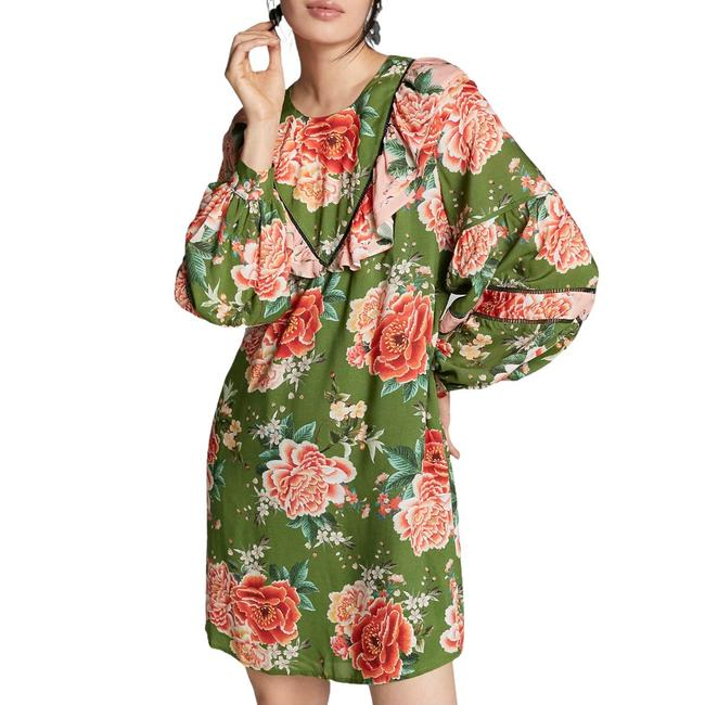 Item - Green Elinor Floral Ruffle Tunic Mid-length Short Casual Dress Size 2 (XS)