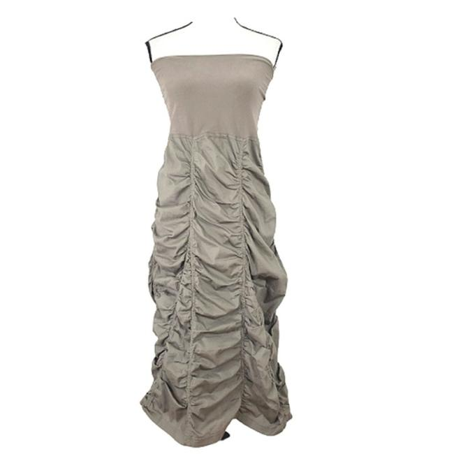 Item - Taupe Strapless Ruched Cotton Blend Boho Mid-length Casual Maxi Dress Size 6 (S)