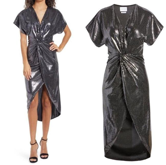 Item - Black Roslynn Sequin Cross Front High/Low Mid-length Cocktail Dress Size 2 (XS)
