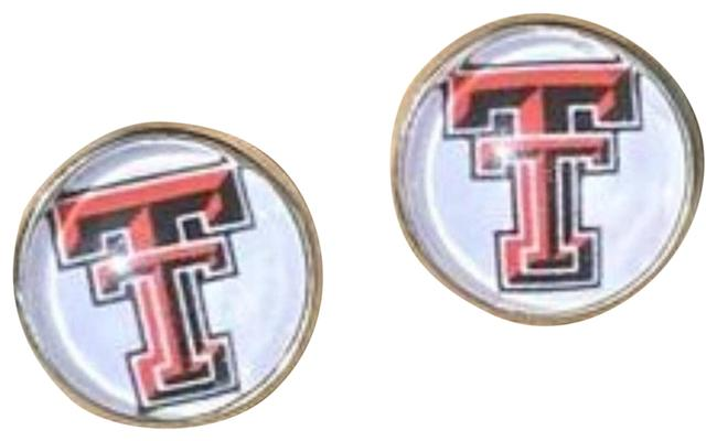 Item - Red Texas Tech Cabochon Stud Earrings