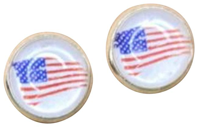Item - Red Distressed American Flag Cabochon Stud Earrings