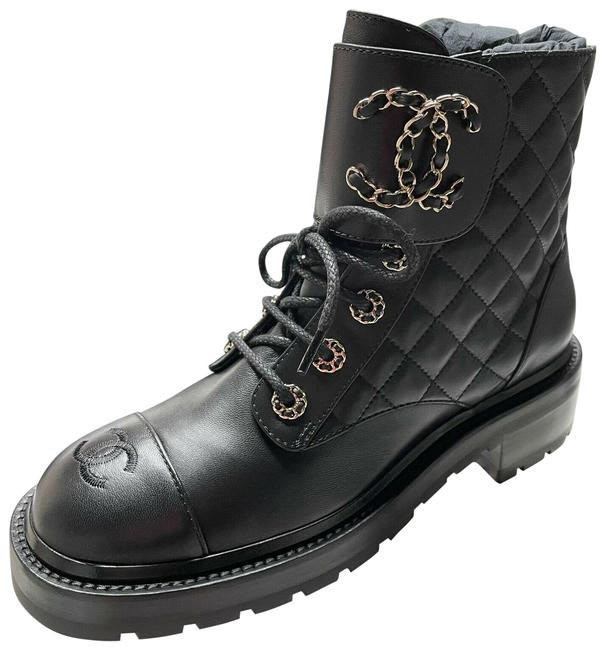 Item - Black 21a Leather Cc Logo Ankle Lace Ups Combat Boots/Booties Size EU 40 (Approx. US 10) Regular (M, B)