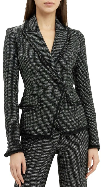 Item - Black/Silver Frisco Tweed Fitted Double Button Jacket Blazer Size 2 (XS)