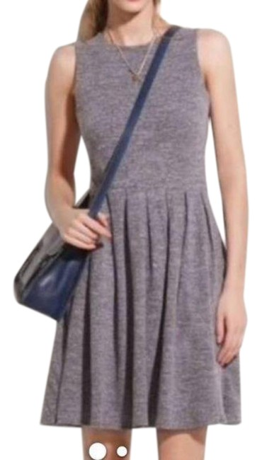 Item - Gray Hi-line Marled Fit & Flare Mid-length Short Casual Dress Size 4 (S)